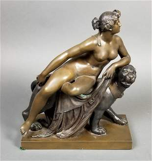 Art Deco Bronze Group of Woman and Puma, C. 1920's