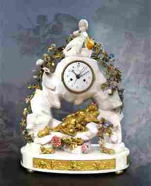 Large 19th C Marble Figural Enamel  Gilt Bronze Mantel