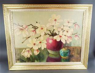Large Framed Painting of Flowers