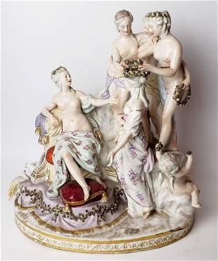 Large German Porcelain Figural Group