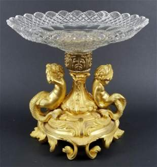 Late 19th C. French Gilt Bronze w/ Crystal Cut Glass