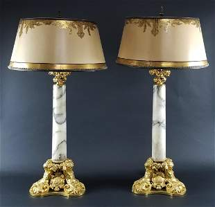 Pair of Late 19th C. Gilt Bronze Mounted Alabaster