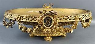 19th C. French Louis XVI Style Gilt Bronze Monogrammed