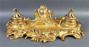 19th C French Louis XVI Style Gilt Bronze Inkwell