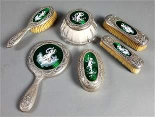 Gorham Sterling Silver & Enamel 6 Pc. Vanity Set