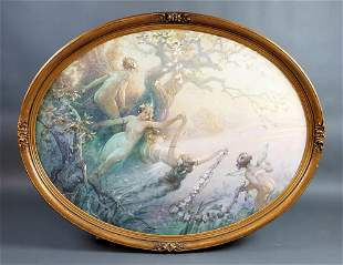 """Large Georg Janny Oval Painting """"Female Angels"""" Signed,"""