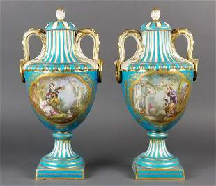 Pair of 19th C. Hand Painted Sevres Vases