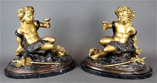 Pair of French Gilt & Patinated Bronze Figures of