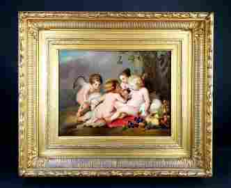 "KPM Plaque in Giltwood Frame ""Reubens Painting"", Circa"