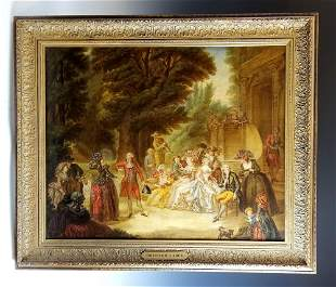 """Early 19th C. American Painting """"Courtyard Scene"""""""