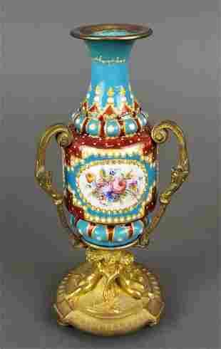 19th C. French Enamel Figural Vase