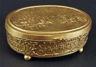 French Gilt Bronze Jewelry Coffre, Circa 1900