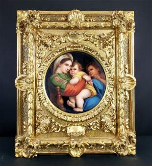 German Painted Porcelain Plaque of Madonna, Circa 1900