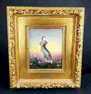 KPM Porcelain Plaque of Lady in the Country, Circa 1900