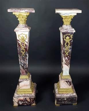 Pair of French Gilt Bronze Mounted Breche De Violette