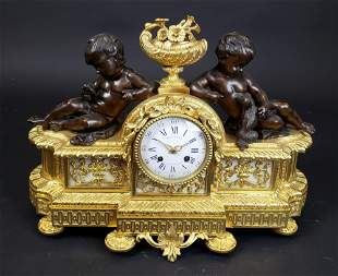 French Gilt & Patinated Bronze Clock by Bollotte Paris,