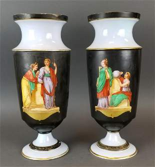 Pair of 19th C. Continental Porcelain Large Vases