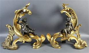 Pair of 19th C. Gilt and Patinated Bronze Figural