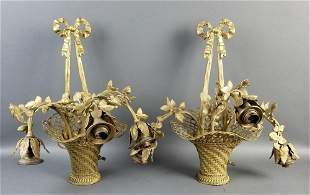 Pair of Late 19th C. Gilt Bronze Basket Shaped Wall