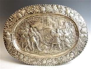 Late 18th C. European Sterling Silver Figural Tray