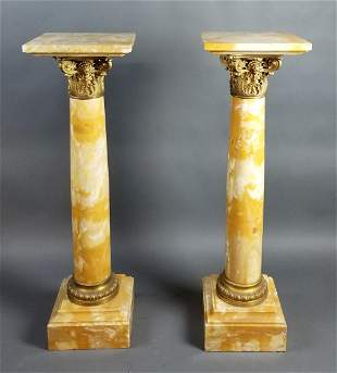 Pair of Magnificent F. Barbedienne Gilt Bronze & Marble