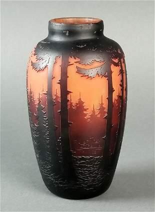Muller Fres Uneville France Forest Vase