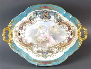 Large 19th C. French Sevres Hand Painted Tray Signed