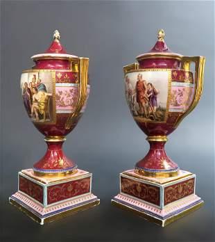 Pair of 19th C. Royal Vienna Lidded Vase/ Urn