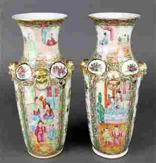 Pair of 19th C. Chinese Rose Medallion Vases