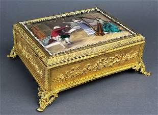 Fine French Large Enamel on Copper Jewelled Jewelry