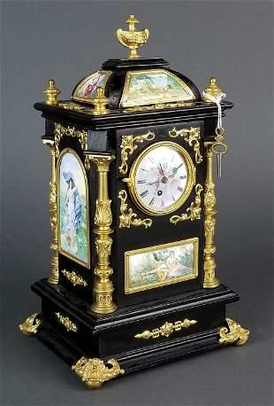 19th C. Large Austrian Viennese Enamel Clock