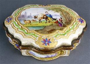 19th C. Sevres Handpainted and Jewelled Jewelry Box