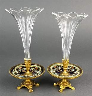 Pair of French Champleve Enamelled and Baccarat Crystal