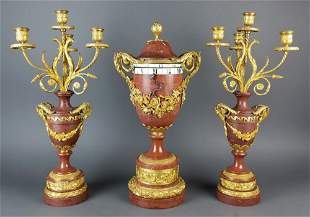 Fine 19th C. French Rouge Marge and Gilt Bronze Rotary