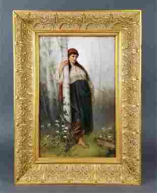 Large Berlin KPM Plaque of a Maiden