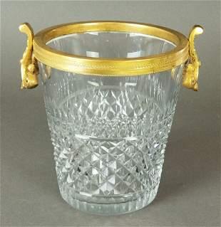 French Baccarat Cut Crystal & Bronze Bucket