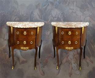 Pair of French Bronze Mounted Side Tables. Early 20th