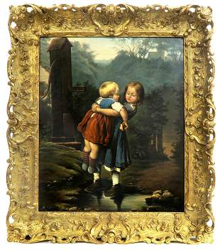 19th C Large Oil On Canvas Painting by John Edmund