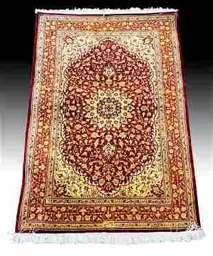 Persian Qum Silk Rug Signed