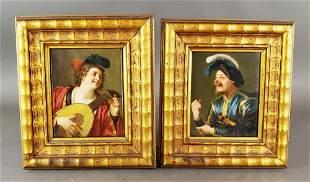Pair of Framed German Porcelain Plaques of Musicians