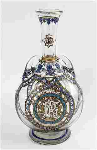 Large Bohemian Inlaid Bottle