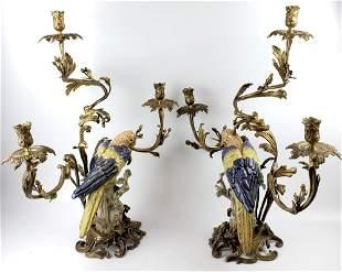 Pair of Large Bronze & Porcelain Figural Bird