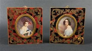 Pair of Napoleon III Framed Miniature Portraits Circa