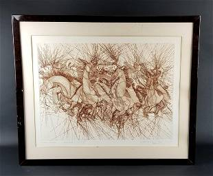 """Guillame Azoulay Etching """"Embuscade"""" Signed, Circa 1980"""