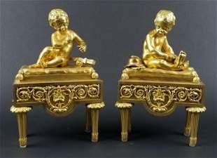 Late 19th C. Pair of Gilt Bronze Louis XVI Style