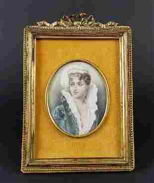 Late 19th C. Hand Painted Miniature Portrait in Gilt