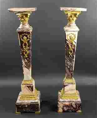 Late 19th C. French Pair of Gilt Bronze Mounted Breche