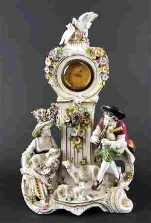 Dresden German Porcelain Figural Clock, Circa 1920