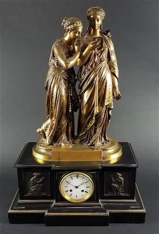 19th C. French Bronze Figural Clock Signed Societe des