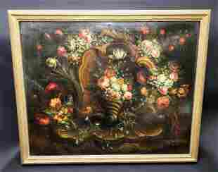 18th C. H. Detrix Signed Large Oil on Canvas Still Life